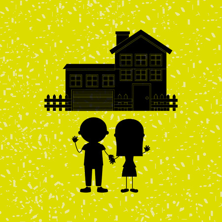 happy couple at home: silhouette family design, vector illustration eps10 graphic