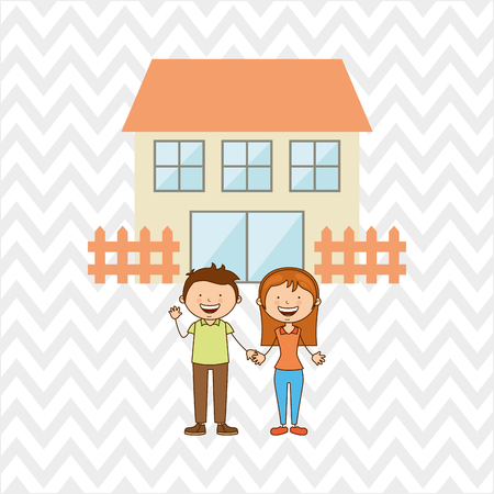 happy couple house: silhouette family design, vector illustration eps10 graphic