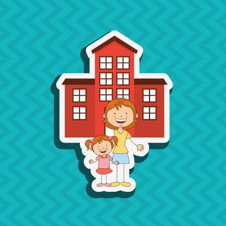 multi family house: silhouette family design, vector illustration eps10 graphic