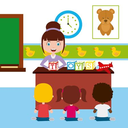 teacher and student: teacher classroom design, vector illustration eps10 graphic