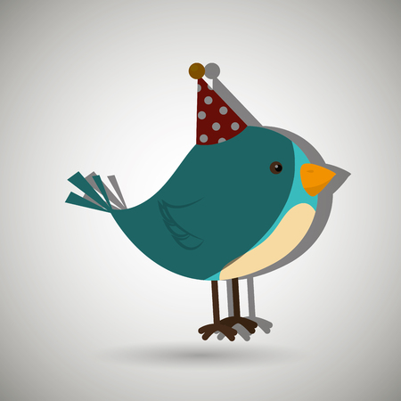 whit: bird whit hat party design, vector illustration eps10 graphic