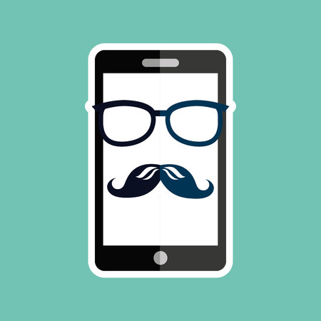 whit: smartphone whit mustache and glasses  design, vector illustration eps10 graphic