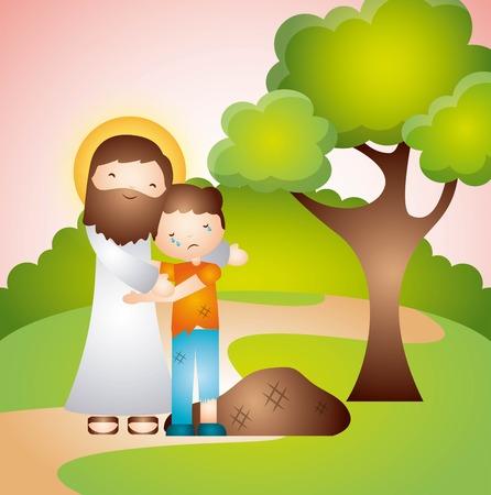jesuschrist: catholic religion design, vector illustration eps10 graphic