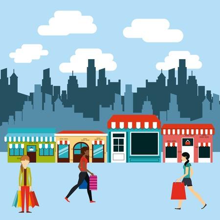 persone di shopping di design, illustrazione grafica vettoriale eps10 Vettoriali