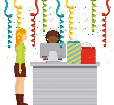 supermarket shopper: people shopping design, vector illustration eps10 graphic Illustration