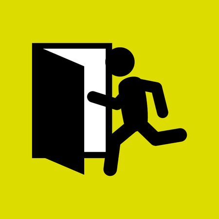 emergency exit label: emergency exit design, vector illustration eps10 graphic Illustration