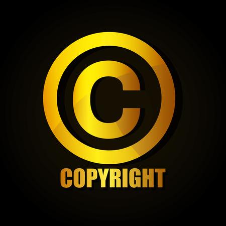 Diseño del símbolo de los derechos de autor, Ilustración de vector