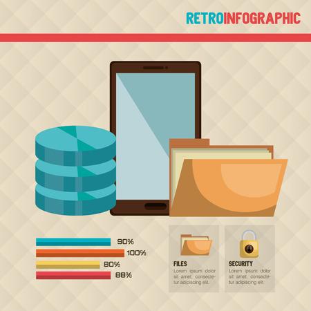 technology: technology retroinfographic design,