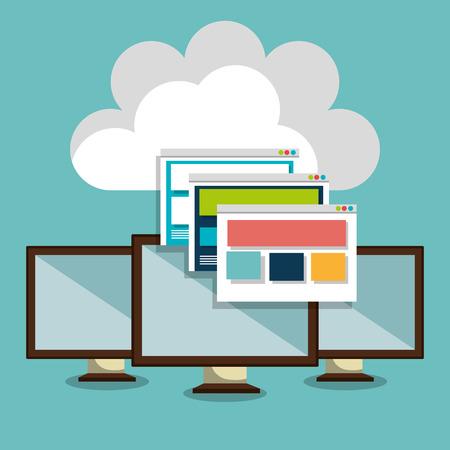 web: web hosting design, Illustration