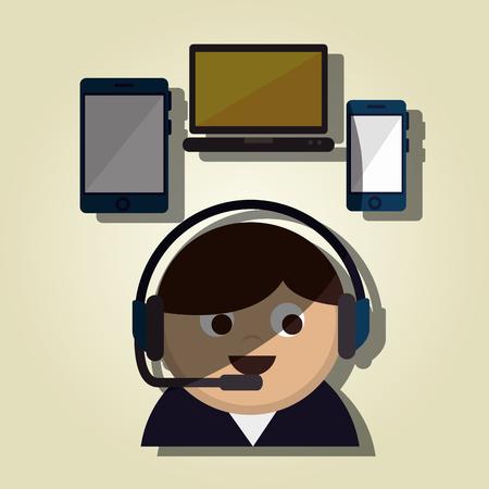 mobile operators: customer service design, vector illustration
