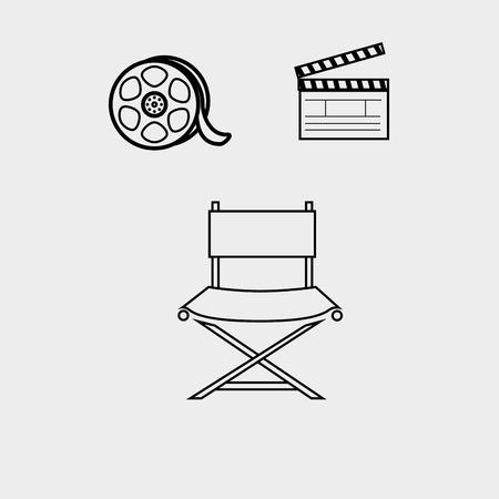 film industry: film industry flat icon  design, vector illustration