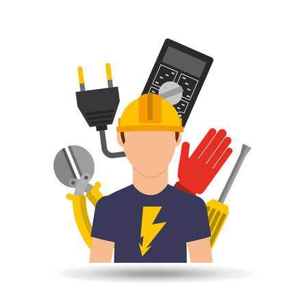 work worker: electrician isolated design, vector illustration eps10 graphic