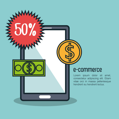 e money: electronic commerce design, vector illustration eps10 graphic
