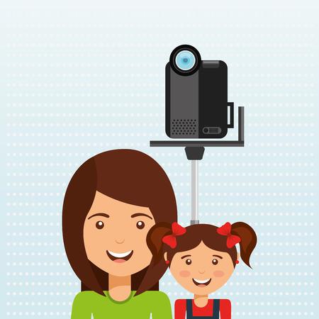 videographer: family video camera design, vector illustration eps10 graphic