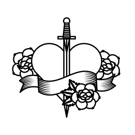 sword and heart: roses tattoo design, vector illustration eps10 graphic