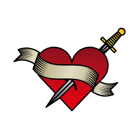 sword and heart: tattoo drawings design, vector illustration eps10 graphic Illustration