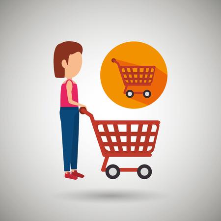 supermarket shopper: woman shopping design, vector illustration eps10 graphic