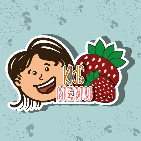children eating: kids menu design, vector illustration eps10 graphic Illustration