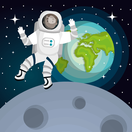 space station: astronaut in the solar system design, vector illustration eps10 graphic