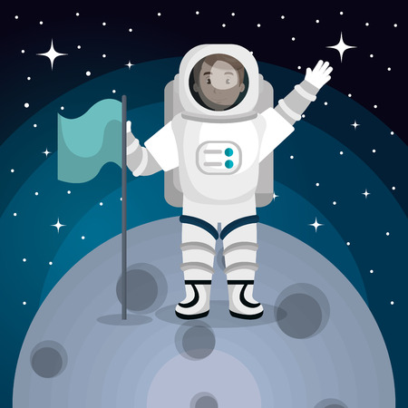 cartoon space: astronaut in the solar system design, vector illustration eps10 graphic