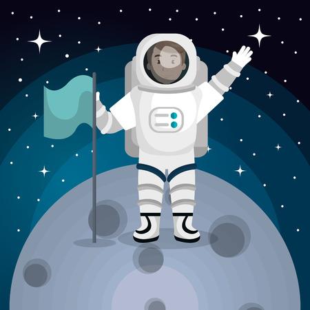 cartoon astronaut: astronaut in the solar system design, vector illustration eps10 graphic