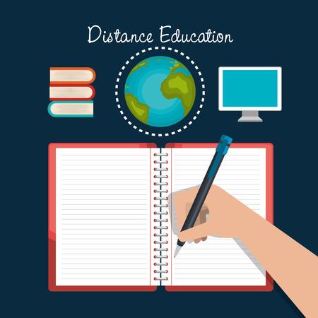 distance: distance education design, vector illustration eps10 graphic