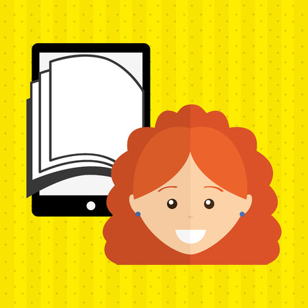 purchase book: person using an electronic book design, vector illustration eps10 graphic