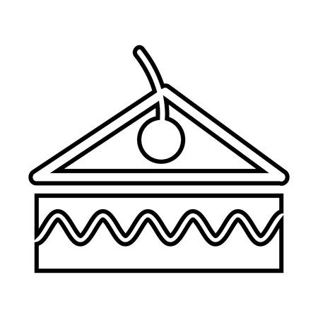 porcion de pastel: pedazo de la torta con diseño de la cereza, ejemplo gráfico del vector eps10