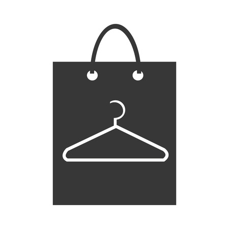 clothespin: black shopping bag with white clothespin icon over isolated background, commerce concept,vector illustration Illustration