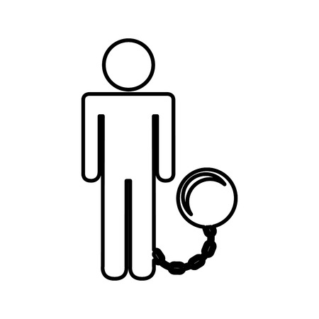 fetter: slave with fetter isolated icon design, vector illustration eps10 graphic Illustration