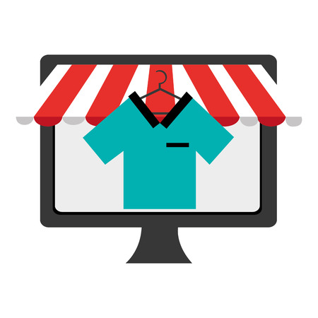 electronic device: black electronic device screen with colorful shirt icon on the screen over isolated background, vector illustration, commerce concept Illustration