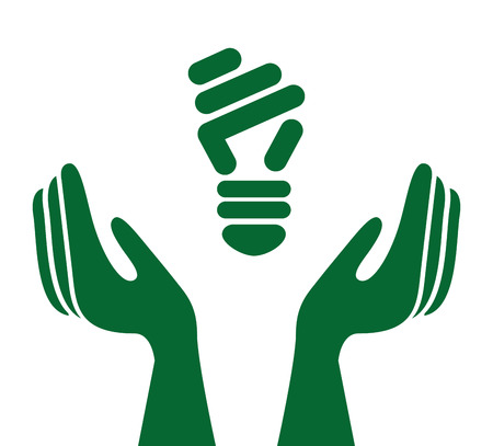 bombillo ahorrador: Ecological hands protecting isolated icon design, vector illustration  graphic