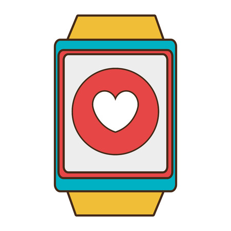 media network: yellow watch with blue and red  frame with a  red circle inside the screen  with heart icon over isolated background, technology concept, vector illustration