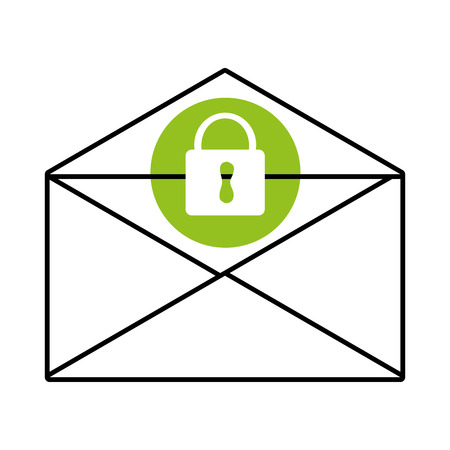 conection: mail envelope with green circle above and white lock icon over isolated background, vector illustration