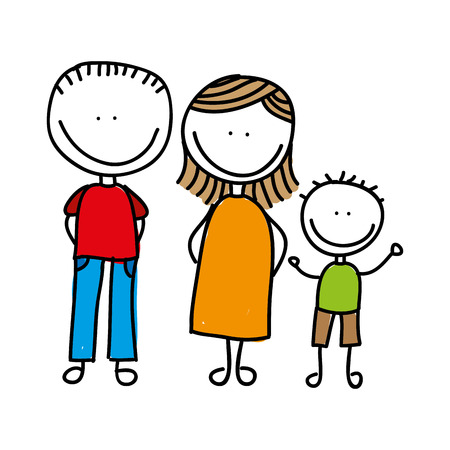 happy family drawing isolated icon design, vector illustration  graphic Çizim