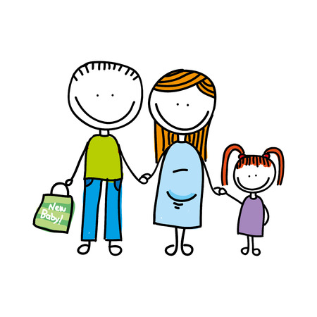 family isolated: happy family drawing isolated icon design, vector illustration  graphic Illustration