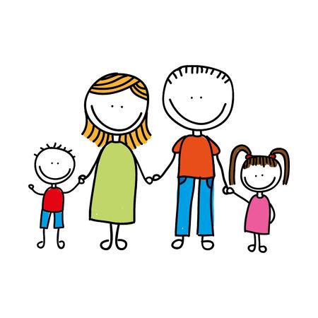 familia feliz dibujo aislado icono del diseño, ejemplo gráfico del vector Ilustración de vector