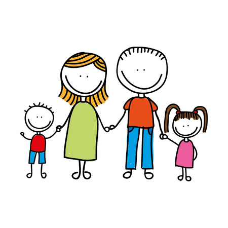 famille heureuse dessin isolé icône du design, vecteur illustration graphique