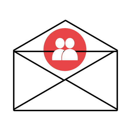 conection: mail envelope with blue circle above and white people icon over isolated background, vector illustration Illustration