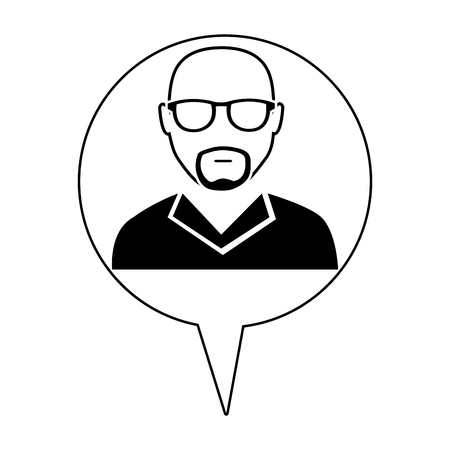 eyeglass: hipster avatar manwith eyeglass and infographic icon over isolated background,vector illustration Illustration