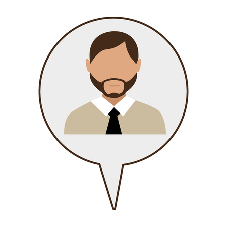 black tie: avatar man with black tie and beard  on infographic icon over isolated background,vector illustration Stock Photo