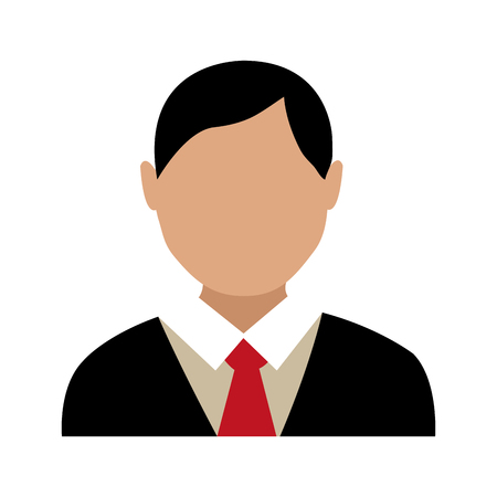 red tie: avatar man with black hair wearing black suit and red tie over isolated background,vector illustration