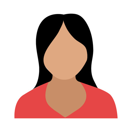 red shirt: avatar woman wearing red shirt over isolated background,vector illustration