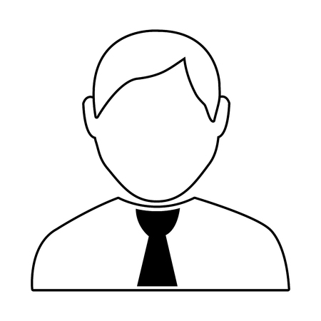 black tie: avatar man wearing black tie  over isolated background,vector illustration