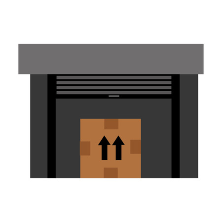 brown box: black commerce place with big brown box and black arrows,vector illustration