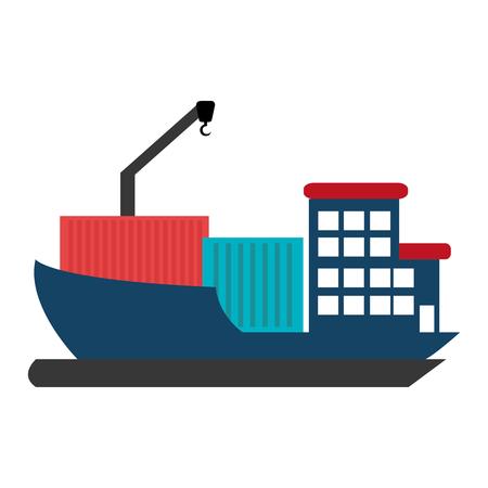 blauwe vrachtschip met blauwe adn rode container over geïsoleerde achtergrond, vector illustratie