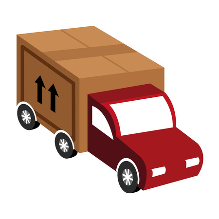 brown box: red truck with big brown box and black arrows over isolated background,vector illustration