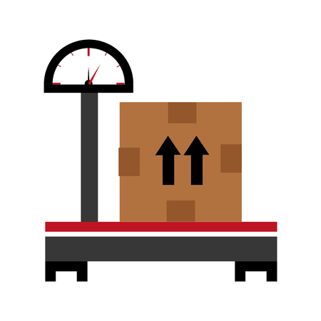 brown box: black adn red balance with a big brown box and black arrows over isolated background,vector illustration Illustration