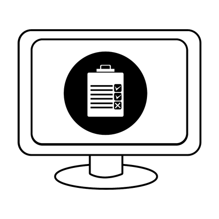 electronic device: electronic device screen with black circle and check list icon over isolated background,vector illustration
