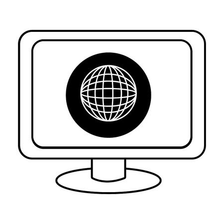 electronic device: electronic device screen with black circle and world map icon over isolated background,vector illustration